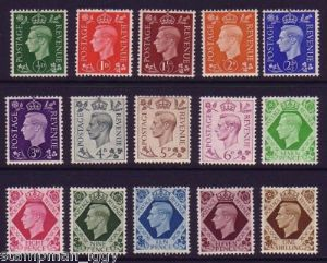 1937 George VI Definitive Stamp Set Mounted Mint SG462-475